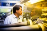 Prof. Yang Yang, Materials Science and Engineering, creates thin, flexible solar cells that could be used on windows to capture energy from the sun. His lab is located in Engineering V.